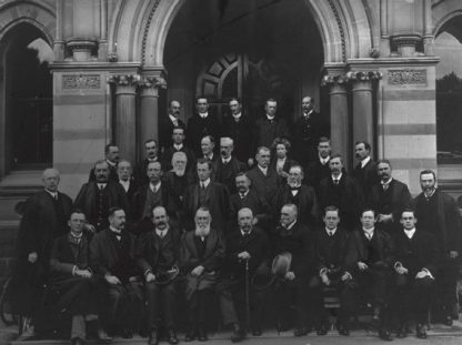 University of Adelaide staff photo. Douglas Mawson is in the second row, fifth from the left, c.1905-7
