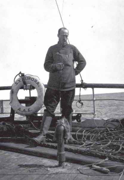 Douglas Mawson on 'Aurora', 1911, photo by George Sandell